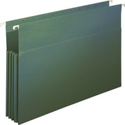 "Staples 3-1/2"" Hanging File Pockets, Legal Size, Standard Green, 4/Box (419176)"