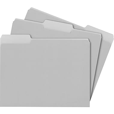 Staples® Colored Top-Tab File Folders, 3 Tab, Gray, Letter Size, 100/Pack
