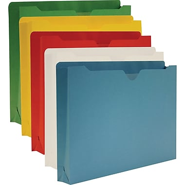 Staples® Colored File Jackets, Letter, 2in. Expansion, Assorted, 10/Box