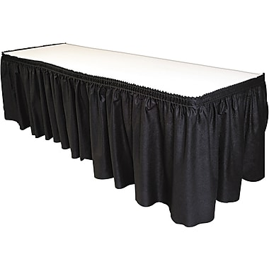 Tablemate® Table Set® Fabric Table Skirt, 14' L x 29in. W, Black
