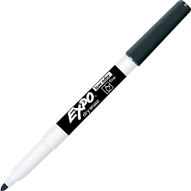 Expo® Low Odour Dry-Erase Markers, Fine Tip, Black, 12/Pack