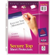 Avery(R) Diamond Clear Secure Top(TM) Sheet Protectors 76000, Acid-Free, Pack of 25