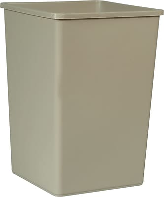 """""Rubbermaid Untouchable Square Trash Receptacle, 35 Gallon, Beige, 27 5/8""""""""H x 19 1/2""""""""W x 19 1/2""""""""D"""""" 39797"