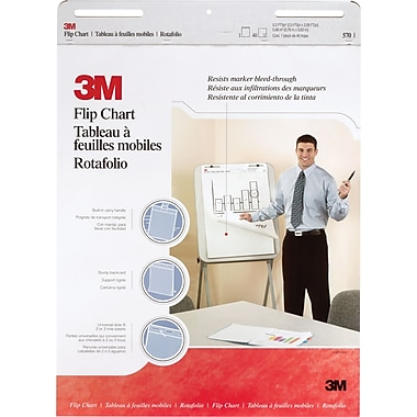 3M&trad; Flip Chart 570, 25in. x 30in., 40 Sheets/Pad, White, 2/Pack