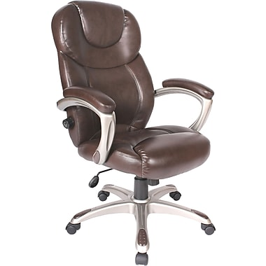 Comfort Products Granton Leather Executive High-Back Chair, Mocha Brown