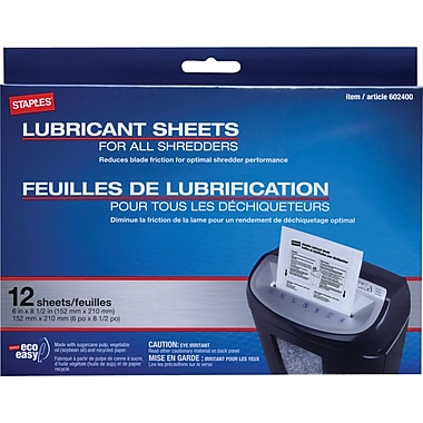 Staples Shredder Lubricant Sheets 12/pk, Shredder Sheets