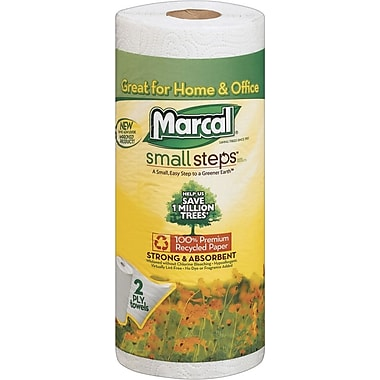 Marcal® Small Steps® 100% Recycled Paper Towel Rolls, 2-Ply, Single Roll