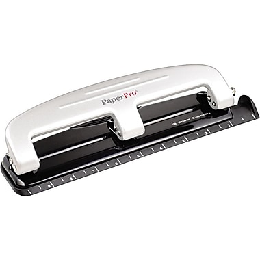 PaperPro® 12-Sheet Three-Hole Manual Punch, Gray/Black