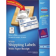 """Avery(R) White Shipping Labels with Paper Receipts for Laser Printers 5327, 5-1/16"""" x 7-5/8"""", Pack of 25"""