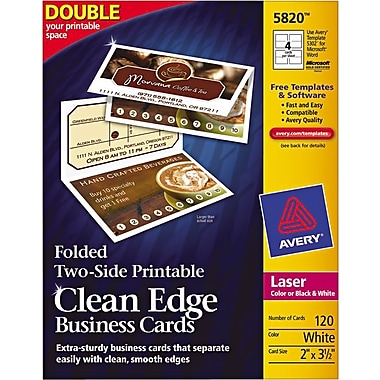Avery Folded 2-Sided Printable Clean-Edge Laser Business Cards, White, Matte Finish, 120/Pack