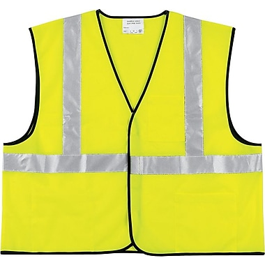 Crews®, Inc. Class 2 Safety Vest, Fluorescent Lime with Silver Stripe, Polyester
