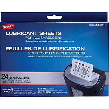 Staples® Shredder Lubricating Sheets 24/pk