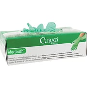 Curad® Aloetouch™ Powder-Free Latex Exam Gloves, Small, Green, 100/Box