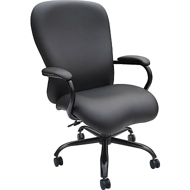 Boss Caressoft Big and Tall Faux Leather Manager's Chair, Fixed Arms, Black