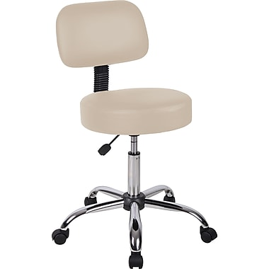 Boss® Caressoft™ Faux Leather Doctor's Stool with Back, Beige
