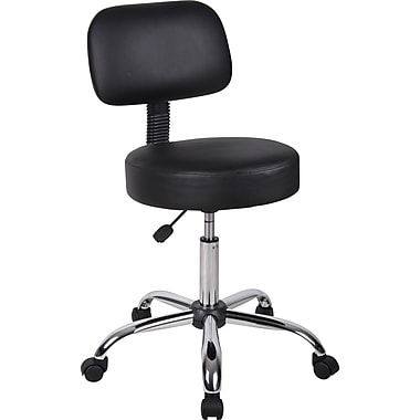 BOSS Caressoft Faux Leather Doctor's Stool with Back, Black