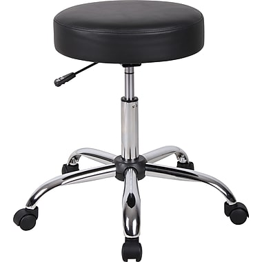 BOSS Caressoft Backless Faux Leather Doctor's Stool, Black