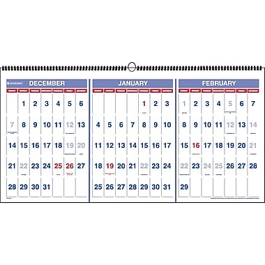 "2014 AT-A-GLANCE® Three-Month Reference Wall Calendar, 23 1/2"" x 12 ..."
