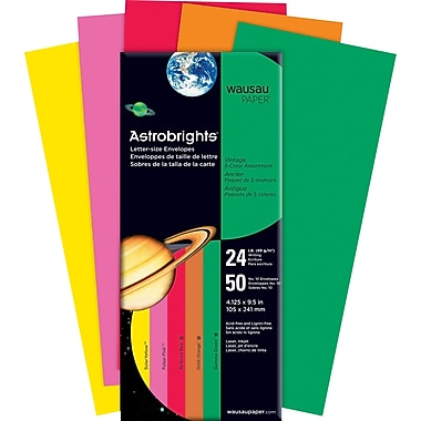 ASTROBRIGHTS® Envelopes, #, 24 lb., 5-Color Assortment, Vintage, 50/Pack