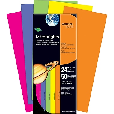 ASTROBRIGHTS® Envelopes, #, 24 lb., 5-Color Assortment, Happy, 50/Pack