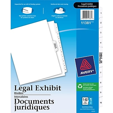 Avery® Legal Trade Numerical Exhibit Index Tab Dividers
