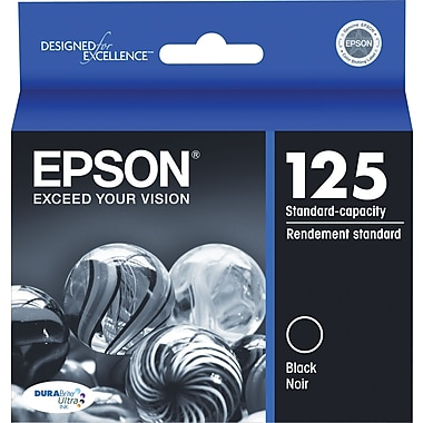 Epson 125 Black Ink Cartridge (T125120), Standard Yield
