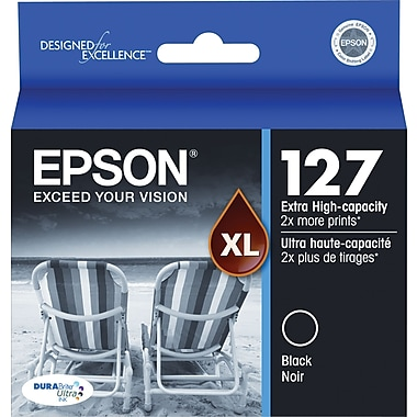 Epson 127 Black Ink Cartridge (T127120), Extra High Yield