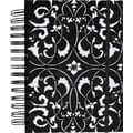 M by Staples™ Black with White Design 3-in-1 Hardcover 3-Subject Notebook, 8in.x 5 3/4in., College Ruled