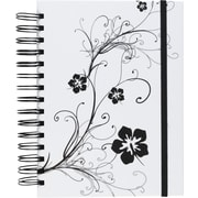 M by Staples™ White with Black Design 3-in-1 Hardcover 3-Subject Notebook, 8x 5 3/4, College Ruled