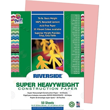 Riverside® Construction Paper; 9in. x 12in., Salmon, 50 Sheets