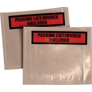 "Quality Park Panel Face Self-Adhesive ""Packing List/Invoice Enclosed"" Envelopes, Orange/Clear, 5 1/2""H x 4 1/2""W, 1,000/Ct"