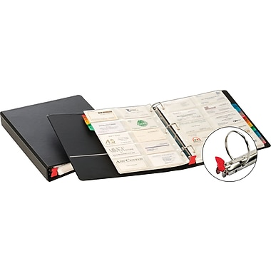 1-1/2in. Cardinal® EasyOpen® Card File Binder With A-Z Indexes, Black, 500 Card Capacity