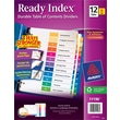 Avery® 12-Tab Ready Index® Multicolor Table of Contents Dividers, 6 Sets/Pack