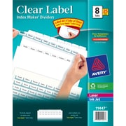Avery® Index Maker Clear Label Tab Dividers, 8-Tab, White, 25 Sets/Pack