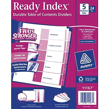 Avery® 5-Tab Ready Index® Multicolor Table of Contents Dividers, 24 Sets/Pack