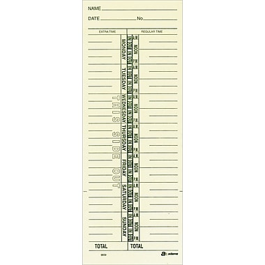 Single-Sided Time Cards, Model 9659, 3-3/8in. x 9in.