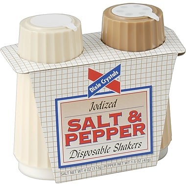 Dixie Crystals Condiment Set, 4 .oz Salt, 1.7 .oz Pepper, Two-Shaker Set