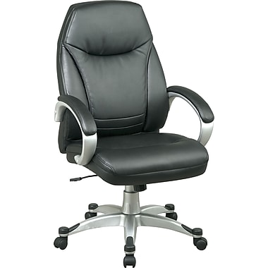 Office Star™ Faux Leather Executive High-Back Chair, Black and Silver