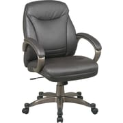 Office Star™ Faux-Leather Executive Mid-Back Chair, Espresso and Cocoa