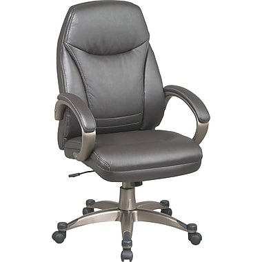 Office Star™ Faux-Leather Executive High-Back Chair, Espresso and Cocoa