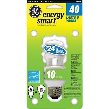 10 Watt GE T3 Spiral CFL Bulb, Soft White