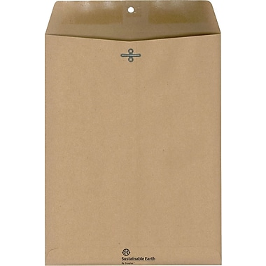Sustainable Earth by Staples™ 10in. x 13in. Natural Brown 100% Recycled Clasp Envelopes, 100/Box