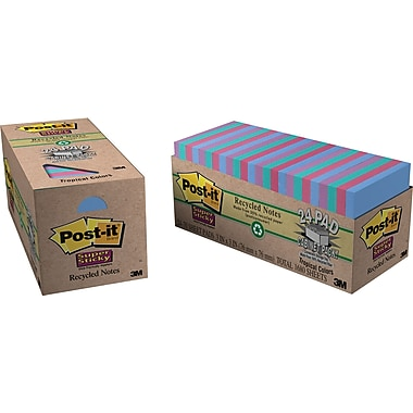 Post-it® Super Sticky 3in. x 3in. Recycled Tropic Breeze Notes, Cabinet Pack
