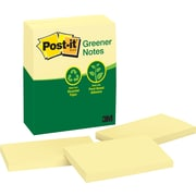 "Post-it&reg 3"" x 5"" Recycled Canary Yellow Notes, 12 Pads/Pack"
