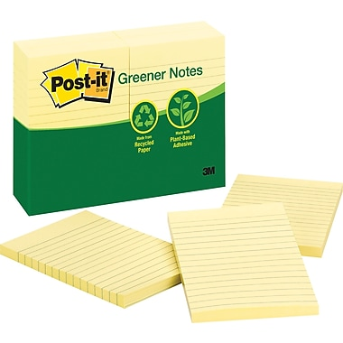 Post-it® 4in. x 6in. Recycled Canary Yellow Notes, 12 Pads/Pack