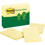 Post-it® 4 x 6 Recycled Canary Yellow Notes, 12 Pads/Pack