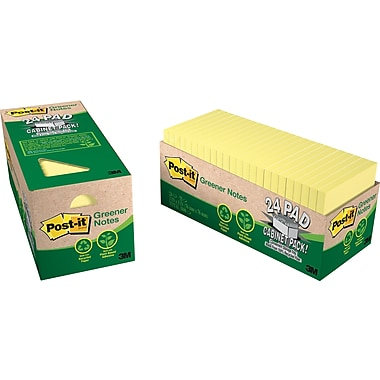Post-it® 3in. x 3in. Recycled Canary Yellow, Cabinet Pack, 24 Pads/Pack