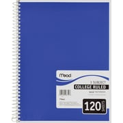 "Mead Spiral 3-Subject Notebook, 8 1/2"" x 11"", College Ruled, 120 Sheets"