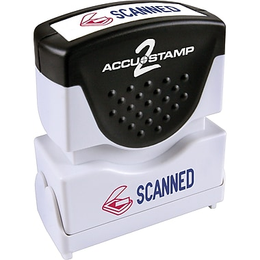 Cosco® Accu-Stamp® Two-Color Shutter Stamp, in.Scannedin. with Microban Protection