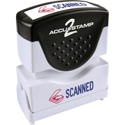 "Accu-Stamp® Two-Color Shutter Stamp, ""Scanned"" with Microban Protection, Red/Blue Ink"